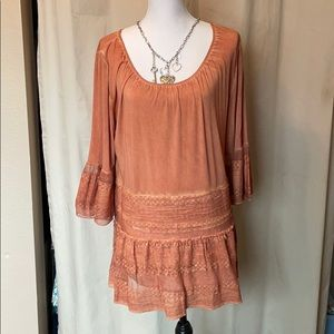Lace Country tunic top Large EUC 3/4 sleeve